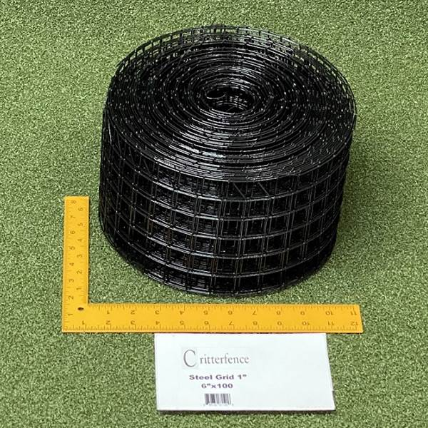 Critterfence Black Steel 1 Inch Square Grid 6 inches x 100ft - 680332611206